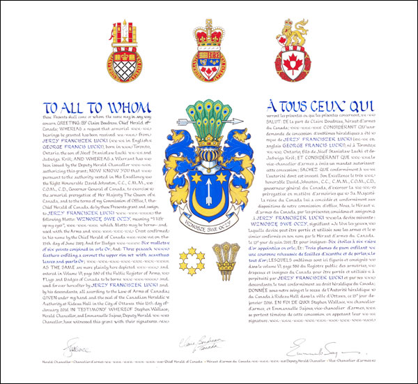 Letters Patent Granting Armorial Bearings To Jerzy Franciszek Lucki