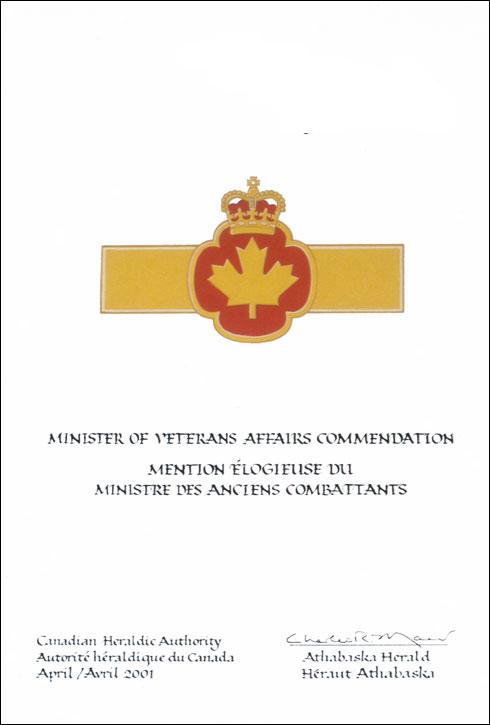 Mention logieuse du ministre des anciens combattants - Cabinet du ministre de l interieur ...